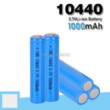 10440 capacidade bateria 1000 mah 3.7 v recarregável baterias de íon de lítio aaa botão superior li-ion baterias lanterna barbeador