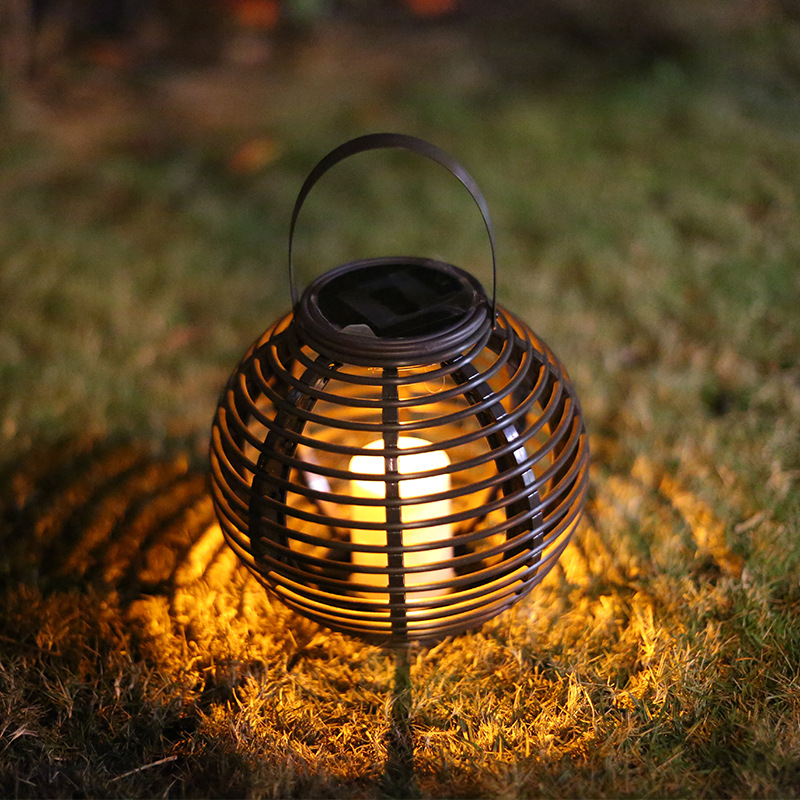 CHICLITS LED Solar Powered Candle Rattan Lantern With Flickering Amber Luminaria Outdoor Waterproof Garden Park Yard Decor Light