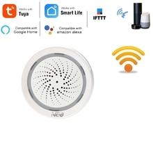 Sensor de alarma de humedad y temperatura, Wifi, sirena, Tuya Smart Life, App, funciona con Echo, Alexa, Google Home, IFTTT