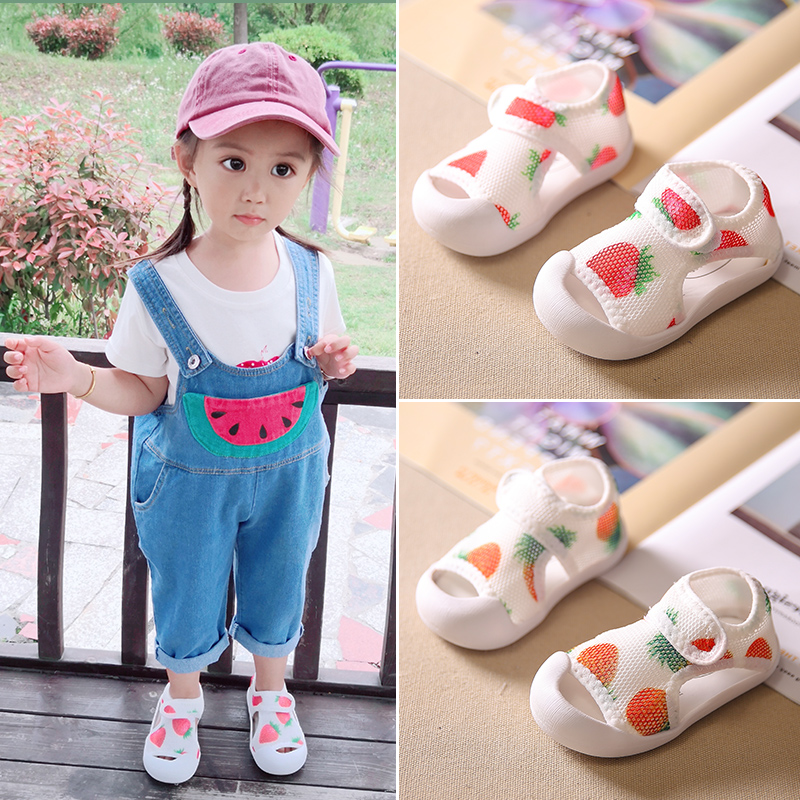 SandQ Baby Shoes Girls Sandals Mesh Newborn Infant Shoes Prewalkers Beach Shoes Nonslip Boutique 0-24M Strawberry Closed Toe