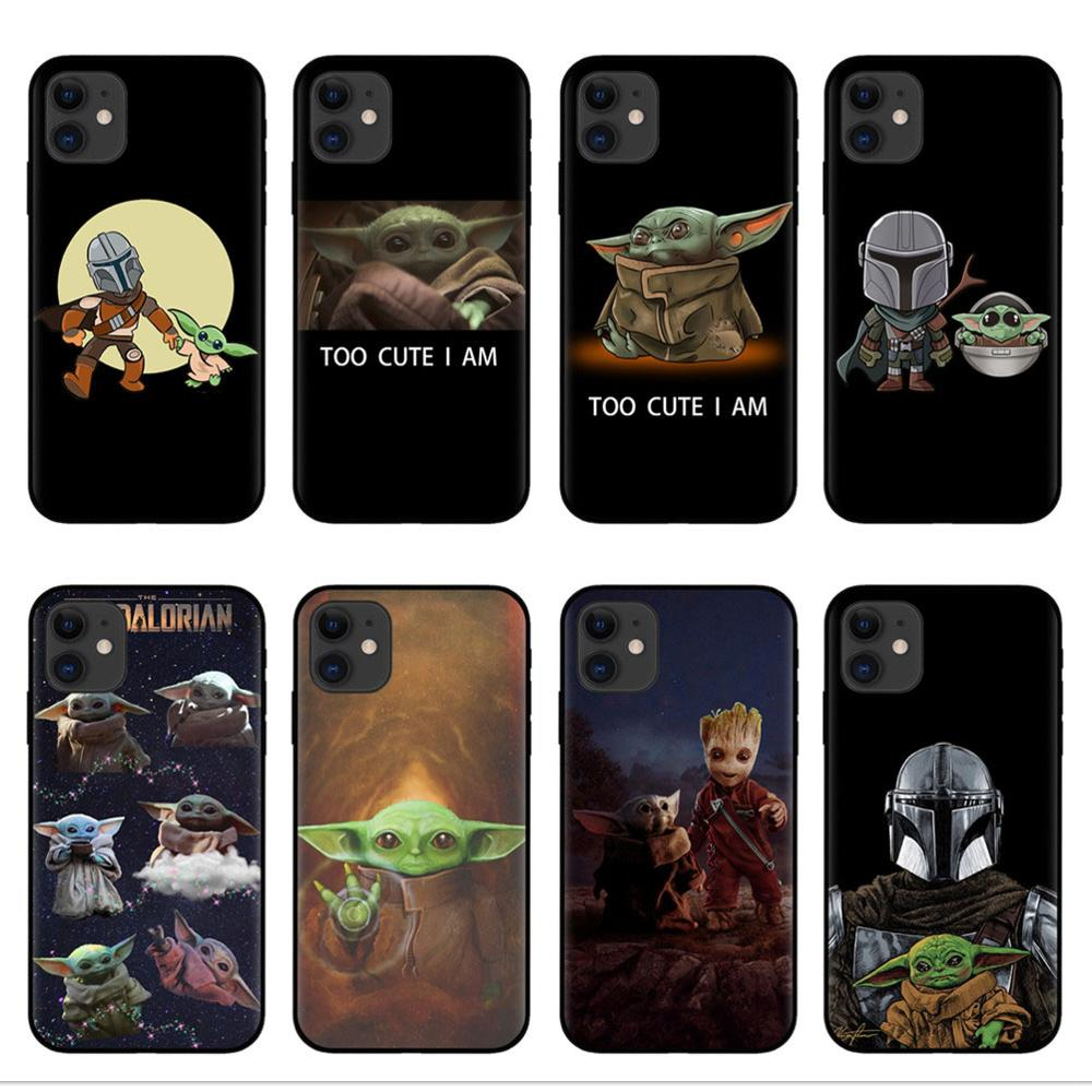 Lovely Baby Yoda soft <font><b>silicone</b></font> Phone <font><b>case</b></font> shell for <font><b>iPhones</b></font> 6 6s 7 <font><b>8</b></font> Plus X XR XS Max 11 Pro Max The Mandalorian Black Tpu Cover image