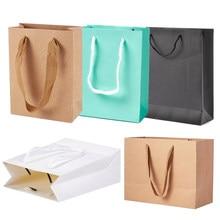 Pandahall 10 pces 16/20/28/33cm retângulo sacos de compras do presente dos malotes do papel de embalagem, com linha de náilon, burlywood f80