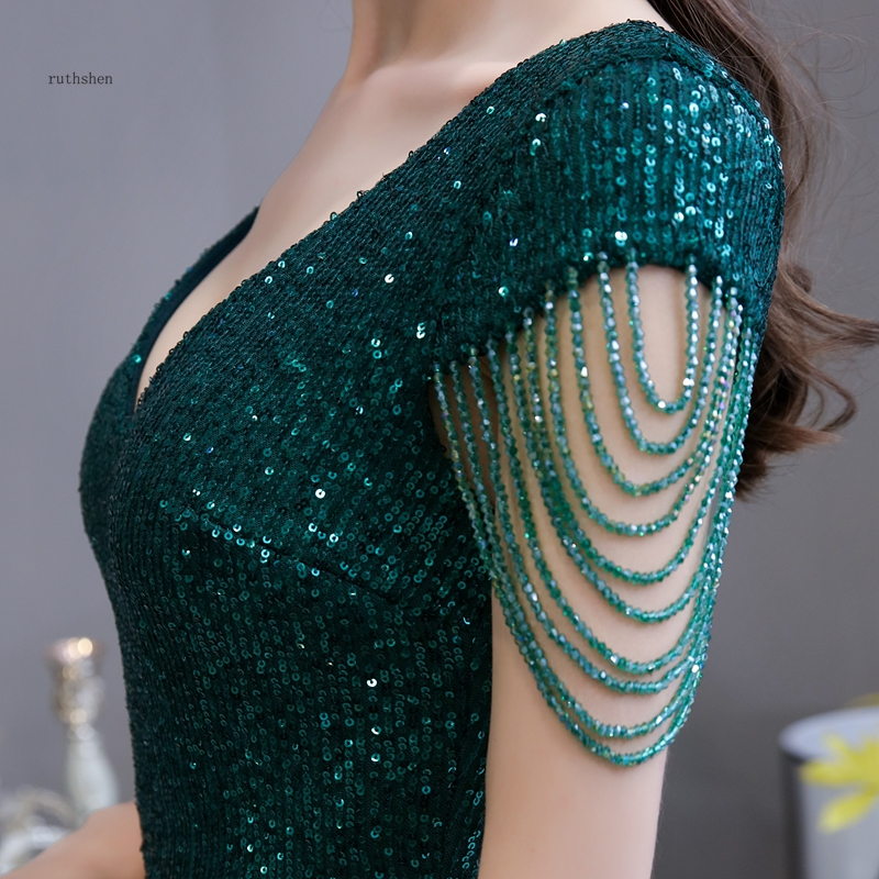 Sequined Maxi Dress Elegant V Neck Emerald Green Mermaid Formal Party Evening Dress With Beading