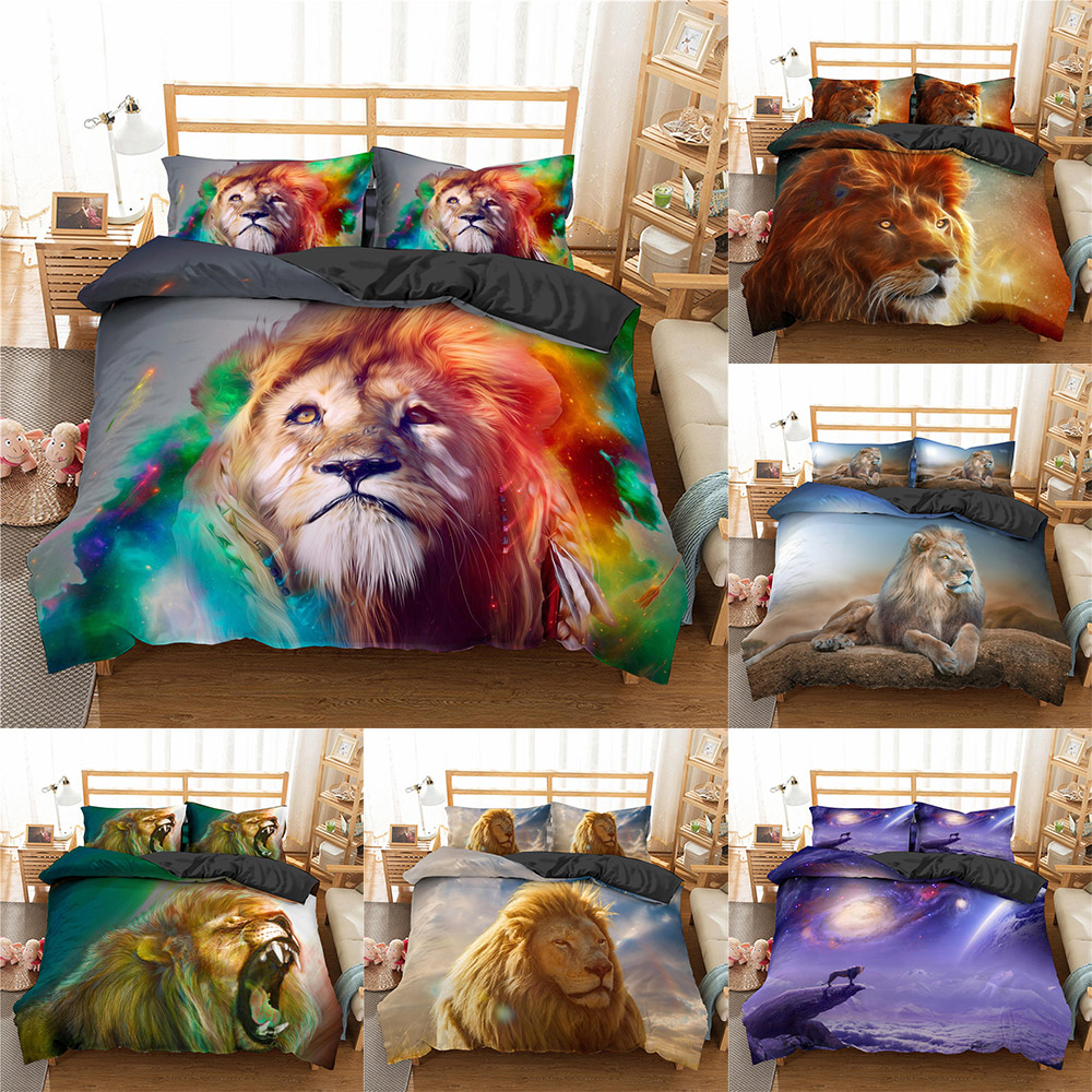 Homesky 3D Lion King Luxury Bedding Sets with Pillowcases Bed Linens set Comforter Bedding Sets Quilt