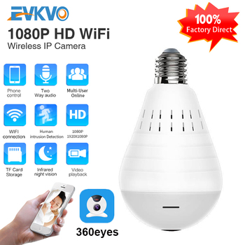 1080P Mini IP Camera 360 Degree LED Light Wireless Panoramic Home Security Security WiFi CCTV Fisheye Bulb Lamp Two Ways Audio 1080p 360 degree fisheye security ip camera wireless panoramic ptz ir cut night vision two way audio cctv cameras