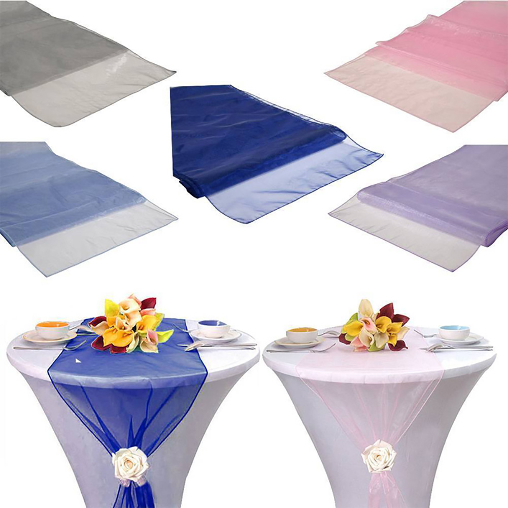 Simple Colorful New Multifunctional Organza Table Runner Cloth Wedding Reception Party Home Decor Runner Flag Table Clean Decor