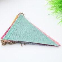 Tecido feito à mão diy decorativo festa de casamento bunting aniversário ornamento banner colorido aniversário pendurado triângulos bandeira