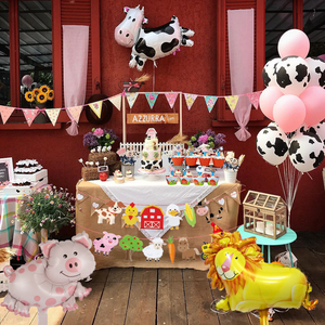 1Set Farm Animal Cake Topper Toppers Cow Pig Banner Horse Lion Pet Walking Balloons Kids Gift Birthday Party Decoration Supplies(China)