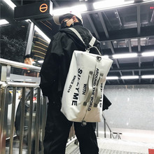 Creative new nylon shoulder bag portable travel men fashion trend ladies fitness zipper backpack  korean
