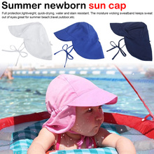 Summer Baby Sun Hat Children Outdoor Neck Ear Cover Anti UV Protection Beach Caps Kids Boy Girl Swimming Flap Cap For 0-5 Years