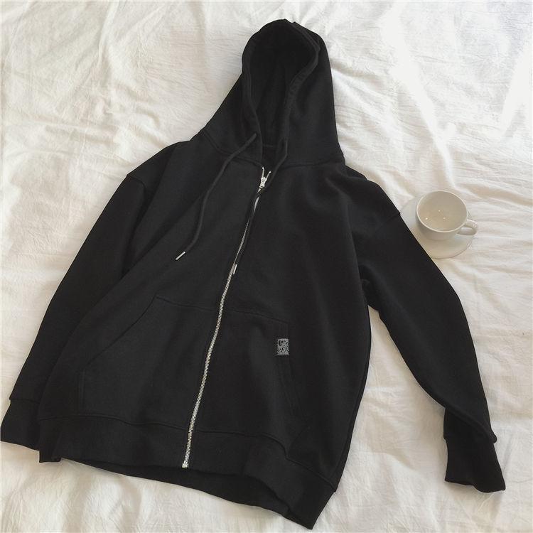 Harajuku with hat hoodies women zipper kangaroo pocket casual loose solid color sweatshirt female 2020 fashion new female tops 9