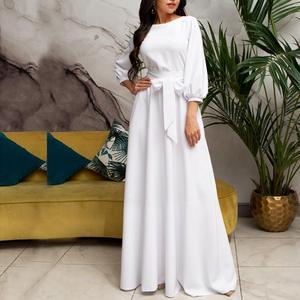 Vintage Bow Tie Maxi Long White Dress Women Lantern Sleeve Elegant Bandage Dress 2019 Solid O Neck Boho Floor -Length Dress