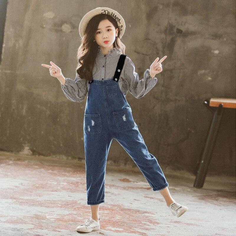 Filles Boutique tenues enfants vêtements printemps automne filles vêtements ensembles à manches longues Plaid T-shirts + Cowboy sangles pantalons costumes - 5