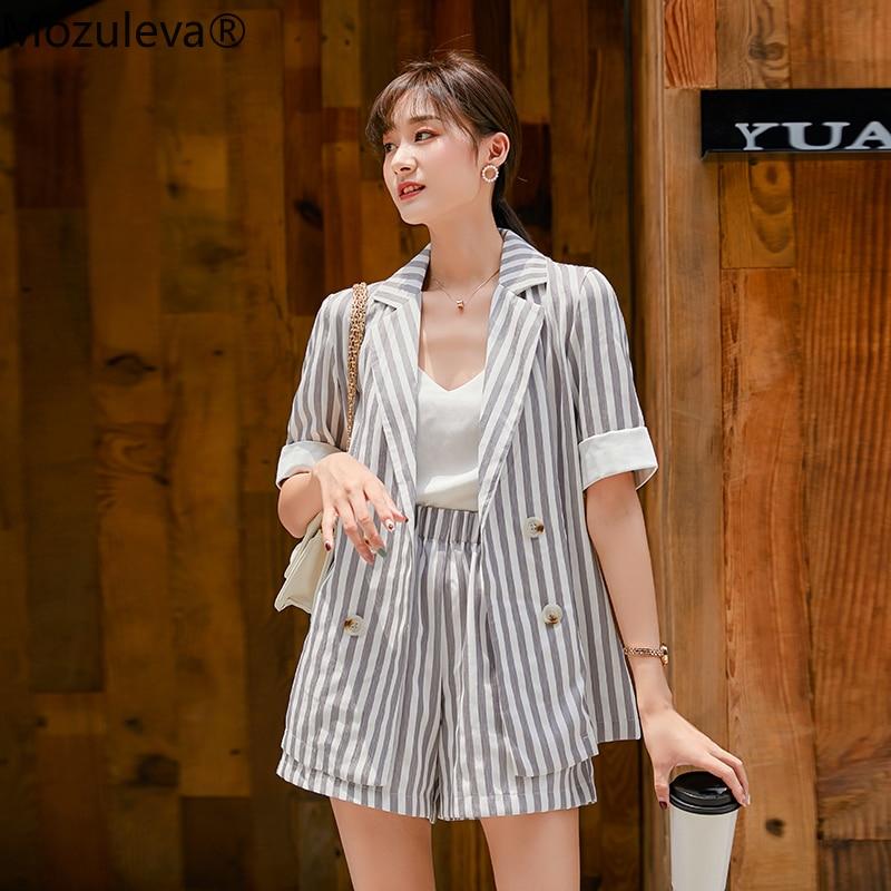 Mozuleva Fashion Double-breasted Striped Women Short Suits Turn-down Neck Jacket Blazer &  Shorts Female Pant Suits Summer