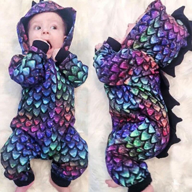 0-2 שנים יילוד תפקידי דינוזאור בגדי ברדס ארוך שרוול romper תינוק ליל כל הקדושים תלבושות לילדים פעוט romper