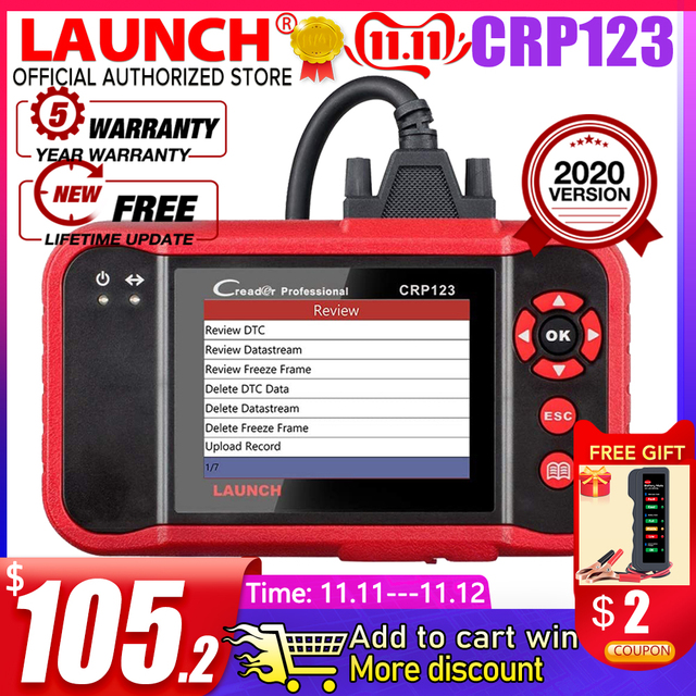 Launch X431 CRP123 CRP123E OBD2 Auto Scanner Support ABS/SRS/GearBox/Engine System CRP 123 OBD 2 Diagnostic Tool Update free