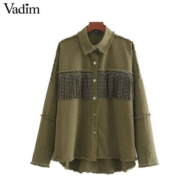 Vadim women stylish oversized beading decorate denim jacket tassel patchwork long sleeve coat female outwear loose tops CA522 1