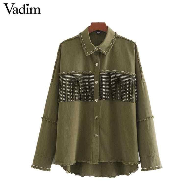 Vadim vrouwen stijlvolle oversized kralen versier denim jas kwastje patchwork lange mouwen jas vrouwelijke uitloper losse tops CA522