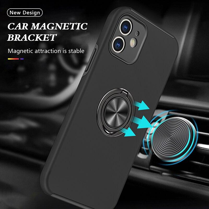 Противоударный Модный чехол для телефона Iphone 12 Mini 11 Pro XS Max X XR 7 8 Plus 6 противоударный силиконовый автомобильный держатель Чехол с кольцом