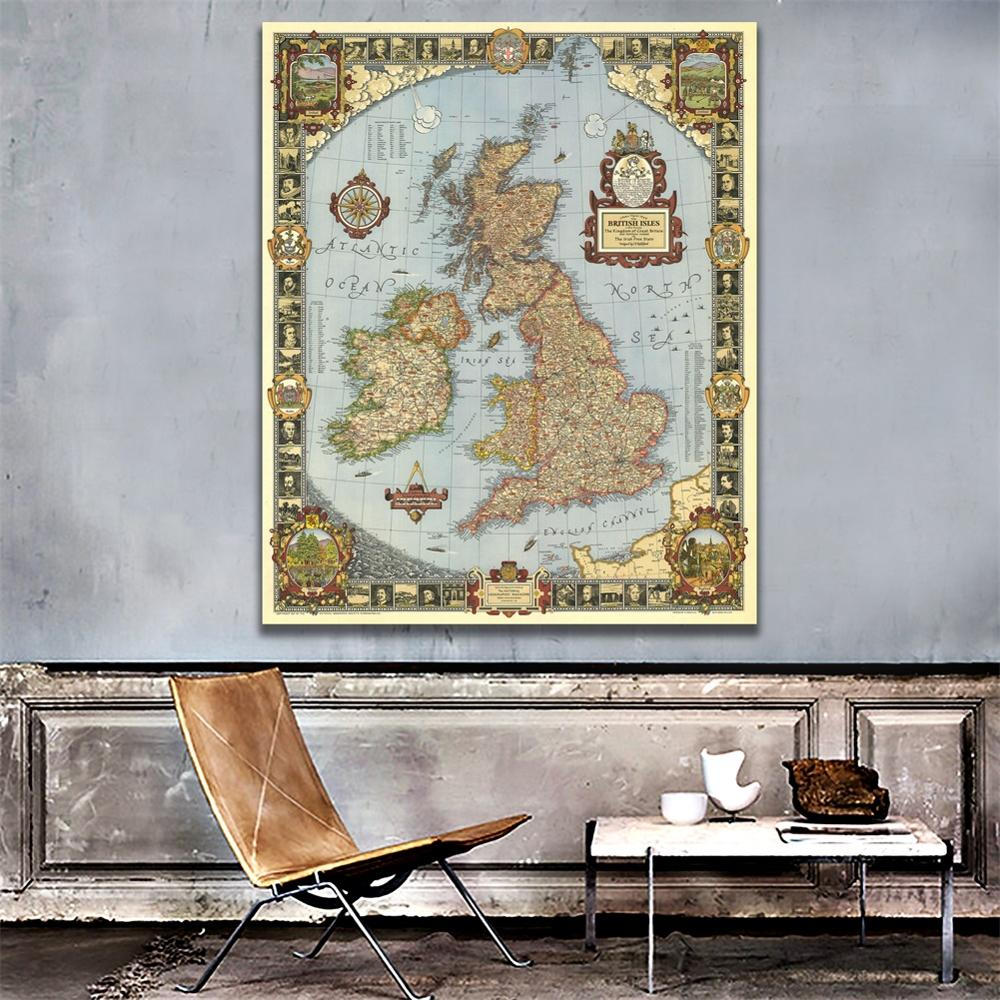 A1 Size Vintage Canvas Scroll Map Of The Kingdom Of Great British For Living Room Wall Decoration