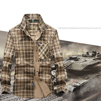 Men Breathable Outdoor Shirts Long sleeve 100% Cotton Shirts Sports Cago Camping Climbing Tactics Army Male shirts Plaid Chemise