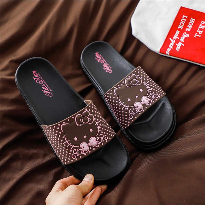 הלו קיטי קיץ נמר כפכפים ליידי חמוד כפכפים חוף סנדלי נעלי בית חתול למבוגרים חיצוני כפכפים חוף נעלי שקופיות