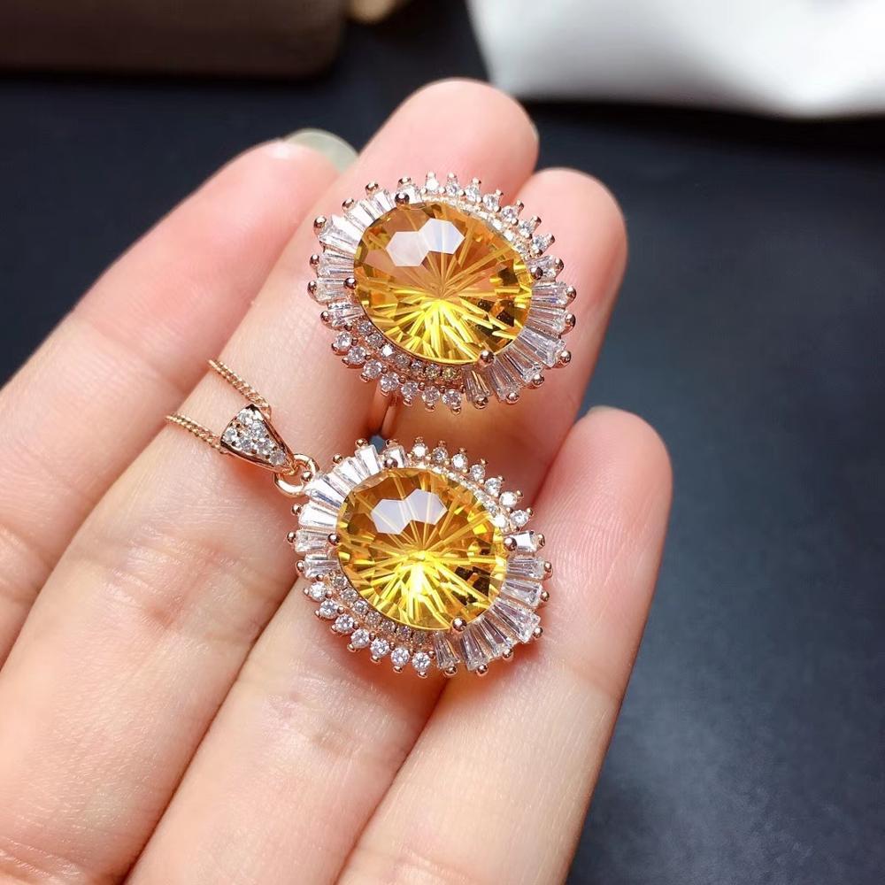 Grande taille jaune vif citrine anneau et collier ensemble de bijoux réel 925 en argent sterling fête d'anniversaire cadeau améthyste collier