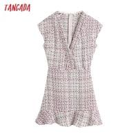 Tangada 2021 Autumn Winter Women Ruffles Tweed Dress V Neck Back Zipper Females Mini Dresses Vestidos BE102 1