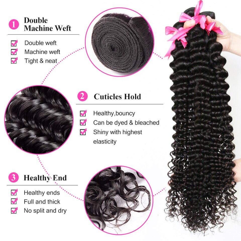 Кудрявые пряди с фронтальной Remy человеческие волосы пряди с закрытием глубокая волна бразильские волосы плетение пряди с закрытием DJSbeauty - 3