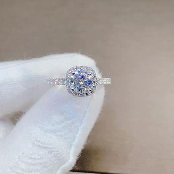 진짜 브릴리언트 컷 다이아몬드 테스트 과거 1 캐럿 6.5mm D 컬러 Moissanite 결혼 반지 클래식 스퀘어 보석 약혼 반지 선물
