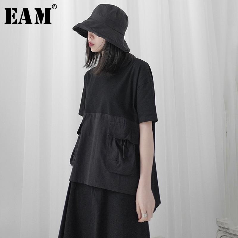 [EAM] Women Black Drawstring Pocket Stitch Big Size T-shirt New Round Neck Short Sleeve  Fashion Tide  Spring Summer 2020 1T706