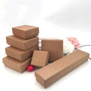 Image 3 - Caixa De Papel Kraft Para Jóias 50 pçs/lote Caixas de Caixas De Jóias Anel Brinco Colar Pingente caixa de Jóias Organizador