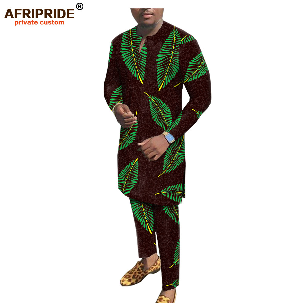 2019 African Men Clothing Set Dashiki Print Tops Blouse Shirts and Ankara Pants Floral Outfits Outwear AFRIPRIDE A1916012