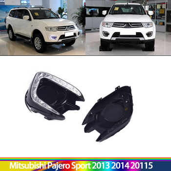 Turn Signal Functional LED Daytime running lights DRL for car special Pajero Sport Montero Sport 2013 2014 2015 Fog Lamp Covers