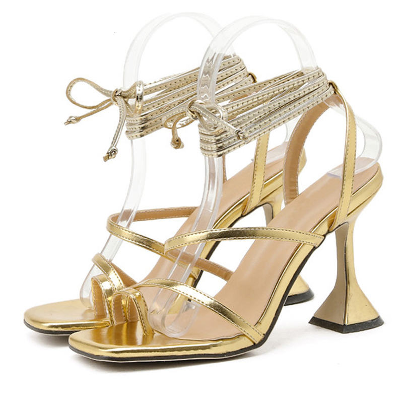 Women Sandals Lace Up Shoes Woman Cross-Tied High Heels Sandals Female Ankle Strap Shoes Summer Fashion Sexy Footwear Plus Size