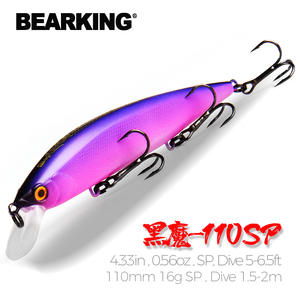 BEARKING Minnow Bait Suspending Fishing Lures Tungsten-System 110mm for Choose 16g 16colors