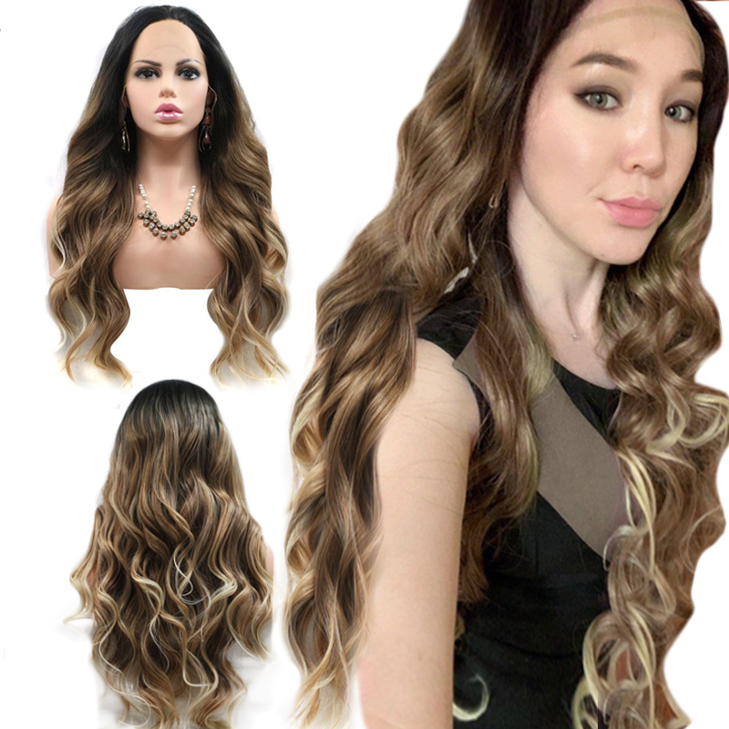 Anogol Black Ombre Blonde High Temperature Fiber Deep Long Body Wave Hair Wigs Synthetic Lace Front Wig For Women