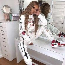Женский комплект из двух предметов, толстовка с капюшоном и свитшот с мультяшным принтом, модная спортивная одежда, осень-зима