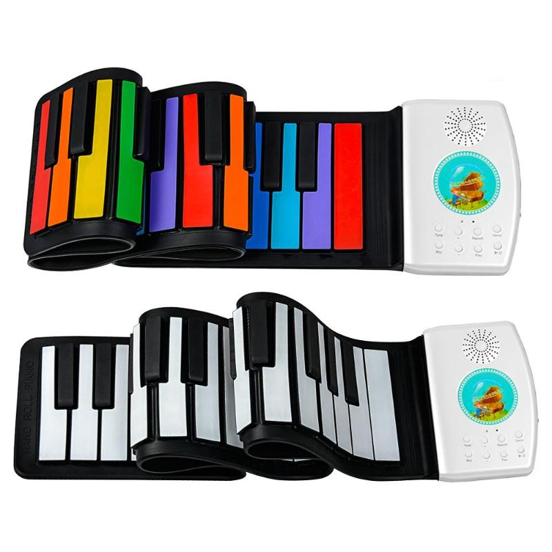 49 Keys <font><b>Digital</b></font> Keyboard Flexible Roll Up <font><b>Piano</b></font> Gift with Loud Speaker Electronic Hand Roll <font><b>Piano</b></font> for Music Lovers Kids Child image