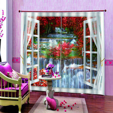 waterfall 3D Curtain Luxury Blackout Window Living Room landscape scenery curtains red leaf