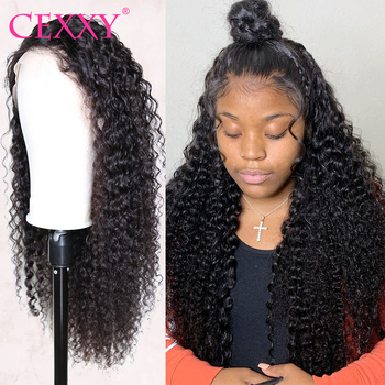 Cexxy 360 sırma ön peruk ön koparıp bebek saç ile brezilyalı kıvırcık insan saçı peruk 250 yoğunluklu derin dalga peruk siyah kadınlar için