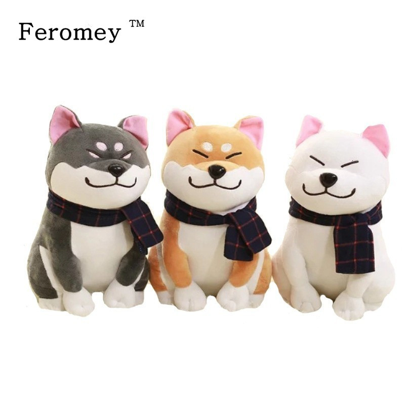 Kawaii Wear Scarf Shiba Inu Dog Plush Doll Toy Soft Stuffed Puppy Dog Plush Toy Christmas Birthday Gifts For Children