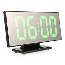 New Upgrate Digital Alarm Clock LED Mirror Clock Multifunction Snooze Display Time Night Led Table Desktop alarm clock(green)(China)