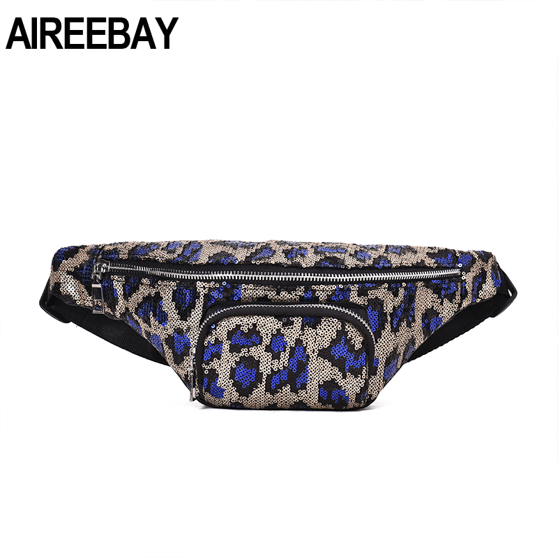 AIREEBAY New Fashion Sequin Leopard Chest Waist Bag Women Fanny Pack Korean Style Belt Bags Luxury Brand Girls Phone Pouch