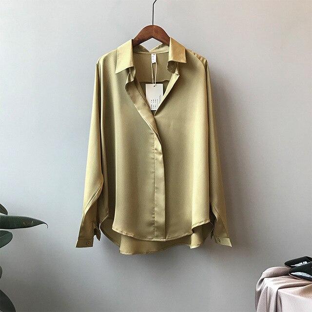 2021 Spring Women Fashion Long Sleeves Satin Blouse Vintage Femme V Neck Street Shirts Elegant Imitation Silk Blouse 5273 50 2