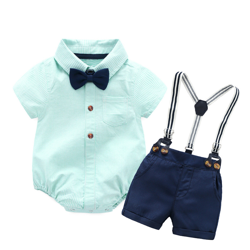 Baby Boy Clothes 100% Cotton Blue Romper + Bow + Navy Shorts + Suspenders Belt Sets Infant Clothing Short Outfit