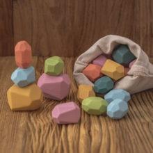 Holz Steine Montessori Spielzeug Kreative Nordic Stil Stapeln Regenbogen Spiel Jenga Set Ausgleich Bausteine Holz Spielzeug Geschenk