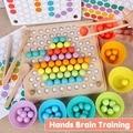 2019 nova montessori brinquedo de madeira mão cérebro formação clipe contas puzzle tabuleiro jogo matemática infantil educação precoce das crianças brinquedos