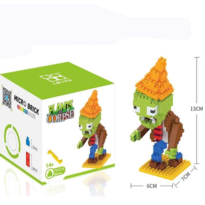 Tanaman Vs Zombies Angka Blok Bangunan Aksi Figur Legoed Peran Bermain Pertempuran Belajar Mainan untuk Anak Mainan Koleksi