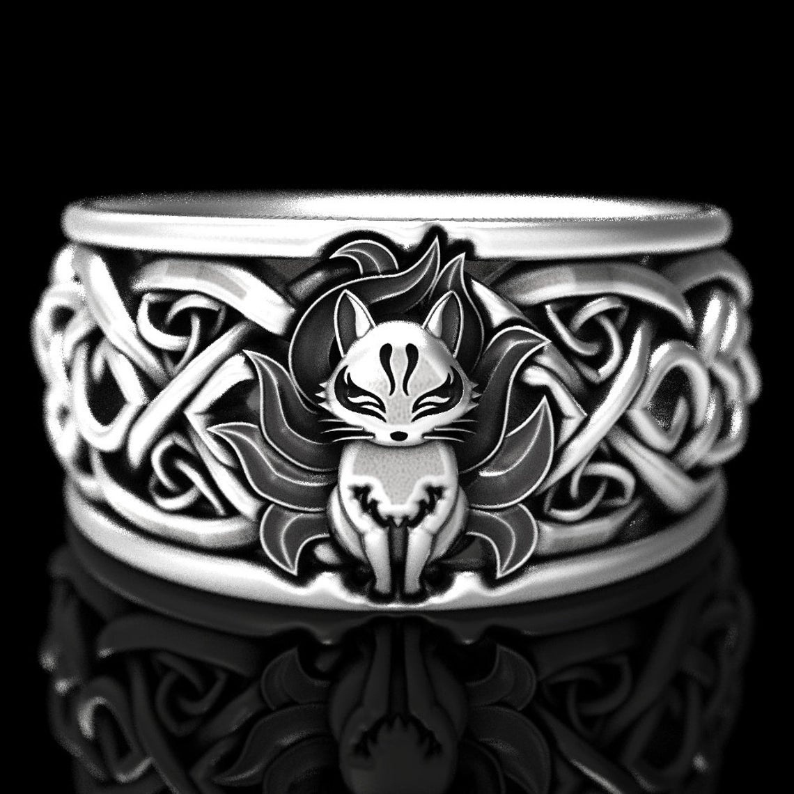 Vintage Fine Silver Color Nine Tailed Fox Ring for Women Men Steampunk Party Halloween Jewelry Gifts